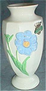 Vintage Vase Tagged Classic Vase Hand Decorated USA Blue Flower (Image1)
