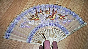 Beautiful Vintage Oriental Fan Hand Painted Birds (Image1)
