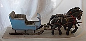 Unique Folk Art Carved Horse And Sleigh