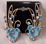 Flapper Era Tall Floral Clip On Earrings