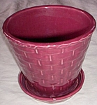 Click here to enlarge image and see more about item ai_12: Shawnee Pot w Saucer Basket Weave