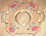 Click to view larger image of Elegant Serving Plate Fostoria Hand Painted Roses (Image1)