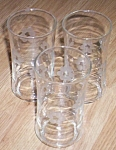 3 Vintage Tumblers Wheel Cut Flowers
