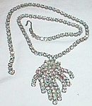 Stunning White Rhinestone Necklace Dangle Fringe Free Shipping