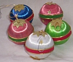 Click here to enlarge image and see more about item barm-29: 5 Vintage Satin Thread Christmas Ornaments Free Shipping