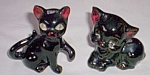 Pair Vintage Black Kitten Pottery Figurines