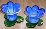 Pair of Blue Tulip Art Glass Candles