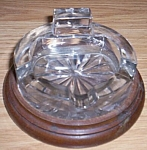 Click here to enlarge image and see more about item br-3: Vintage Glass Ashtray on Wood Base