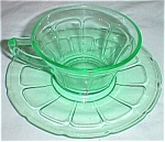 Click here to enlarge image and see more about item cd-15: Diamond Glass-Ware Cup & Saucer Victory Green 1929-1932