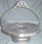 Click here to enlarge image and see more about item cd-46a: Antique Silver Plated Handled Basket Stand Van Bergh