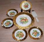Click to view larger image of 7 Pc Dessert Set Heavy Gold Rim (Image1)