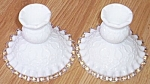 Click here to enlarge image and see more about item e-29: Pair Fenton Silver Crest Spanish Lace Low Candles
