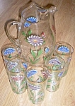 5 Piece Hand Painted Pitcher Tumbler Set