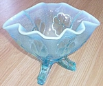 Click to view larger image of Dugan Daisy and Plume Ice Blue Opalescent Rose Bowl (Image1)