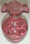 Lovely Cranberry Glass Ruffled Top Vase Fenton?