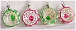 Click here to enlarge image and see more about item el-35: 4 Vintage Glass Christmas Ornaments Dent Center Star Pa