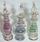 3 Miniature Art Glass Perfume Bottles