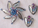 Florenza Signed Brooch with Matching Earrings
