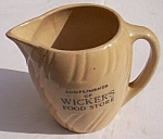 Click here to enlarge image and see more about item ely-45: Antique Advertising Cream Pitcher Wickers Store