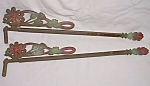 Pair Antique Sliding Curtain Rods Flower Ironwork