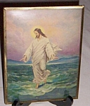 Click here to enlarge image and see more about item ely-93: Antique Convex Glass Jesus Christ Walking on Water Print