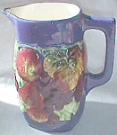 Click here to enlarge image and see more about item emb-1: Antique Czech Majolica Pitcher Fruit Cobalt Blue Bern