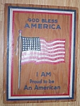 "Click here to enlarge image and see more about item emb08-30: Vintage Wood ""God Bless America"" Post Card"