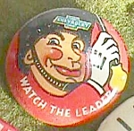 "Click here to enlarge image and see more about item fin-11: Vintage Chevrolet Pin Back ""Watch the Leader"" Free Shipping"