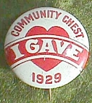 Click to view larger image of Antique Community Chest, �I gave� 1929 Lapel Pin Free Shipping (Image1)
