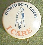 "Click here to enlarge image and see more about item fin-9: Antique Community Chest ""I Care"" Pin Girl on Crutches Free Shipping"