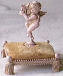 Click here to enlarge image and see more about item fl-34: Florenze Signed Pin Cushion Angel w/ Harp Free Shipping