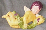 Click here to enlarge image and see more about item fl-38: Adorable Angel Wall Plaque Holding Fruit Swag