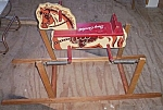 Click here to enlarge image and see more about item fur-1: Vintage Davy Crokett Spring Rocking Horse