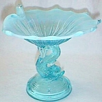 Click here to enlarge image and see more about item gl-3: Gorgeous Blue Opalescent Dolphin Compote Folded Top