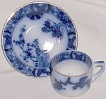 Click here to enlarge image and see more about item gr-10: Flow Blue Demitasse Cup and Saucer Gilman CTA