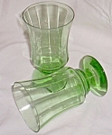Click here to enlarge image and see more about item gr-11: Pair (2) Green Depression Parfait Glasses