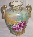 Click here to enlarge image and see more about item gr-3: Morimura Nippon Hand Painted Urn Vase Roses