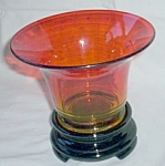 Click here to enlarge image and see more about item gr-4: Art Deco Amberina Bowl on Black Amethyst Pedestal