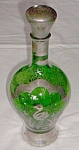 Antique Emerald Green Decanter Heron in Silver Overlay