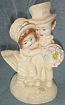 Click to view larger image of Vintage Chalkware Bookend Children Married Couple (Image1)