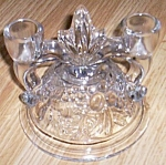 Click here to enlarge image and see more about item hc-135: Indiana Glass Bananas & Fruit Double Candle Holder