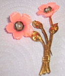 Click here to enlarge image and see more about item hc-51: Vintage Lucite Floral Brooch