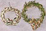 2 Lovely Christmas Wreath Brooches One Marked Gerrys
