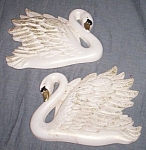 Click here to enlarge image and see more about item md-14: Pair 1968 Miller Art Chalkware Swan Wall Plaques