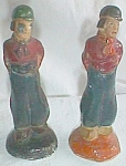 2 Miniature Chalkware Dutch Boys Figurines