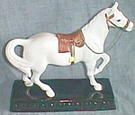Vintage Saddled Horse Statue on Black Base Old Japan