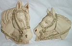 Click here to enlarge image and see more about item mt-9: 1964 Miller Art Chalkware Horse Head Wall Plaques 2