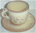 Click here to enlarge image and see more about item ole-141: Frankoma Cup & Saucer Set #7C & #7F Tan