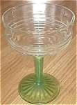Click here to enlarge image and see more about item ole-19a: Hocking Stem Circle 1930 Green Stem Crystal Top