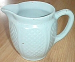 Click here to enlarge image and see more about item ole-277:  RRPCo Little Blue Milk Pitcher ca 1944